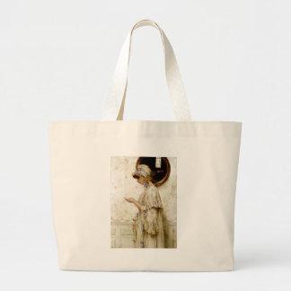 Pintura da letra da leitura da mulher bolsas de lona