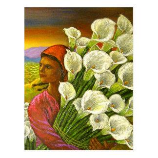 Pintura da mulher com o cartão dos lírios de Calla