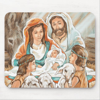 Pintura da natividade com os meninos pequenos do p mouse pad