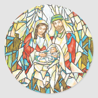 Pintura da natividade do vitral adesivos em formato redondos