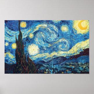 Pintura da noite estrelado de Vincent van Gogh Poster