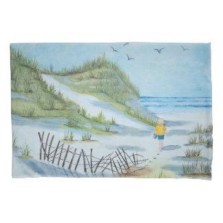 pintura da praia da aguarela com criança e balde