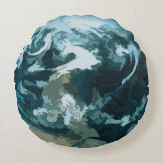 Pintura da terra do planeta almofada redonda