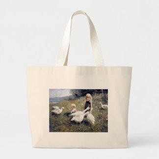 Pintura das crianças e dos gansos bolsas