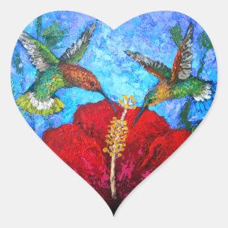 Pintura das etiquetas do coração dos colibris