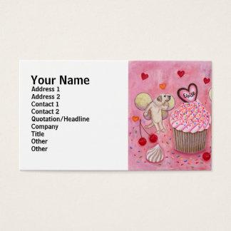 Pintura das fadas do cupcake e do Labrador Cartão De Visitas
