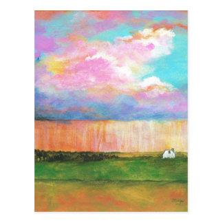 Pintura de casa abstrata da paisagem dos chás de cartão postal