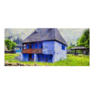 Pintura de casa azul panfleto