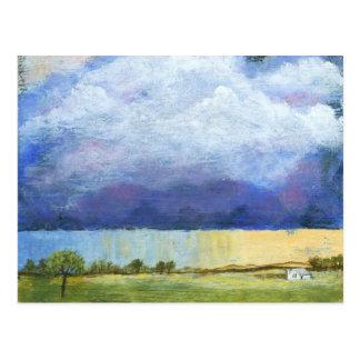 Pintura de casa da paisagem da arte abstracta da cartão postal