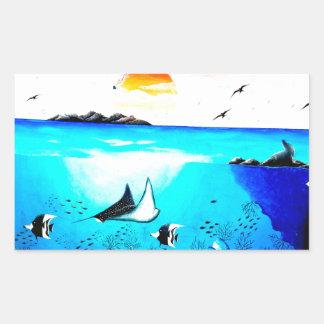 Pintura de cena subaquática bonita adesivo retangular