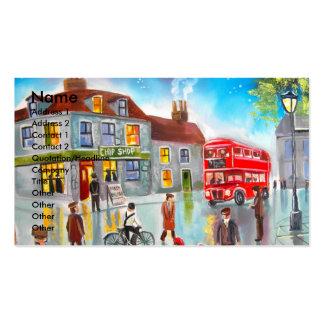 Pintura de cena vermelha da rua do ônibus do autoc cartoes de visitas