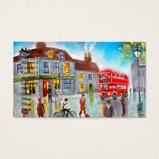 Pintura de cena vermelha da rua do ônibus do cartão de visitas