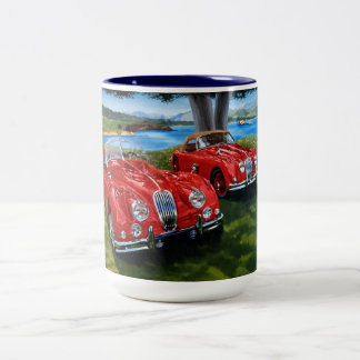 Pintura de Jaguar Caneca De Café Em Dois Tons