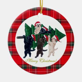 Pintura de Labradors da árvore de Natal Enfeite