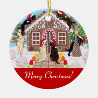 Pintura de Labradors da casa do pão do gengibre Ornamentos Para Arvore De Natal