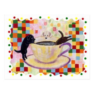 Pintura de Labradors do café com pontos coloridos Cartões Postais