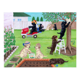 Pintura de Labradors do divertimento de domingo Cartao Postal