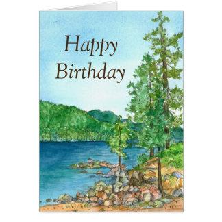 Pintura de Lake Tahoe do porto da areia do feliz Cartão Comemorativo