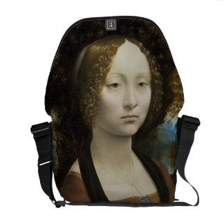 Pintura de Leonardo da Vinci Ginevra de' Benci Bolsa Mensageiro