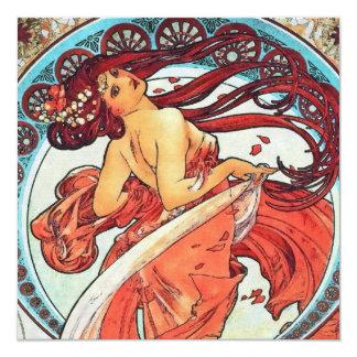 Pintura de Nouveau da arte do vintage da dança de Convite Quadrado 13.35 X 13.35cm