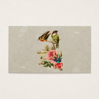Pintura de paisagem bonito dos pássaros & dos cartão de visitas