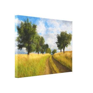 Pintura de paisagem da estrada secundária impressão em tela
