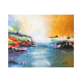 """""""Pintura de paisagem do abstrato da rocha Impressão Em Tela"""