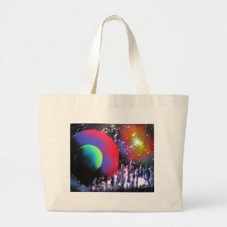 Pintura de paisagem do espaço da cidade da arte da bolsa tote grande