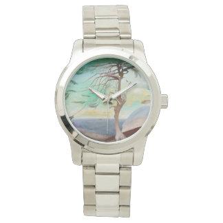 Pintura de paisagem só da árvore de cedro relógio
