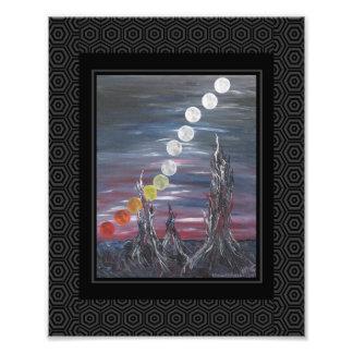 Pintura de paisagem surrealista escura com luas impressão de foto