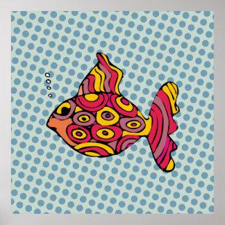 Pintura de peixinho em Pop Art - AN-0004A Pôster