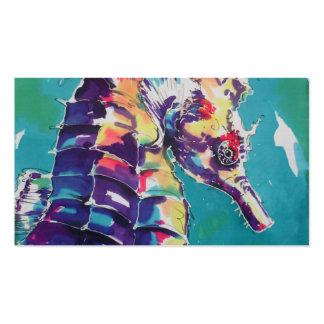 Pintura de seda do cavalo de mar cartao de visita