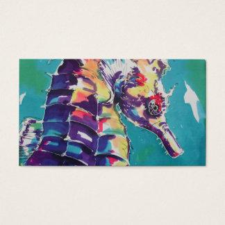 Pintura de seda do cavalo de mar cartão de visitas