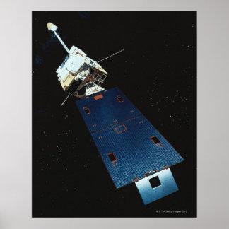 Pintura de um satélite de tempo pôster