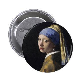 Pintura de Vermeer - menina com um brinco da pérol Bóton Redondo 5.08cm