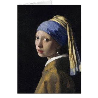 Pintura de Vermeer - menina com um brinco da pérol Cartão Comemorativo