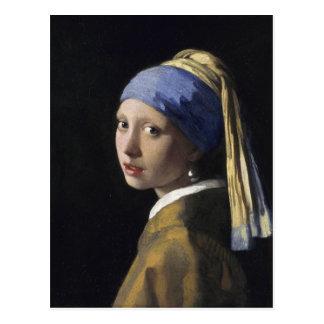 Pintura de Vermeer - menina com um brinco da pérol Cartão Postal