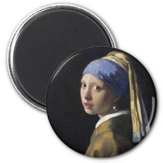 Pintura de Vermeer - menina com um brinco da pérol Ímã Redondo 5.08cm