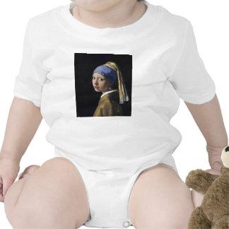 Pintura de Vermeer - menina com um brinco da pérol Macacãozinhos Para Bebê