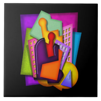 pintura do abstrato da metrópole do art deco