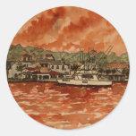 pintura do barco de pesca da água salgada do iate adesivos em formato redondos