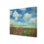 Pintura do campo da papoila impressão em canvas