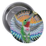 """Pintura do colibri de Beija Flor (da """"Kisser flor"""" Bóton Redondo 7.62cm"""