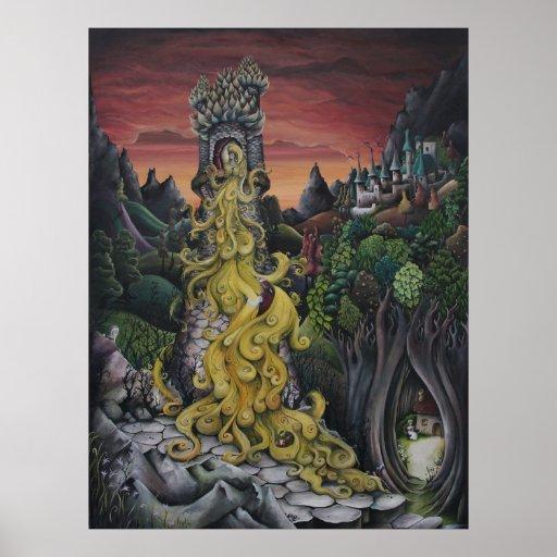 Pintura do conto de fadas de Rapunzel Posteres