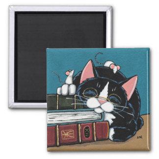 Pintura do gato e dos ratos do smoking do leitor ímã quadrado
