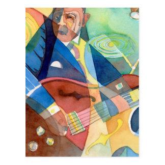"""Pintura do """"guitarrista da música jazz """" cartão postal"""