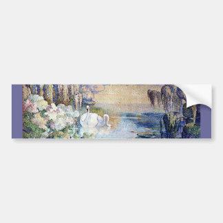 Pintura do lago swans adesivos