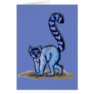 Pintura do Lemur e cartão atados anel dos fatos