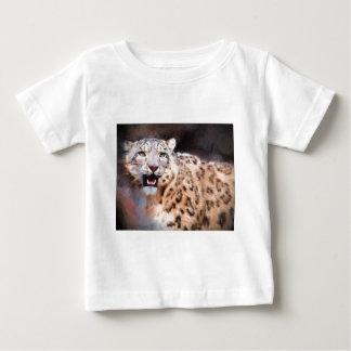 Pintura do leopardo de neve camiseta para bebê