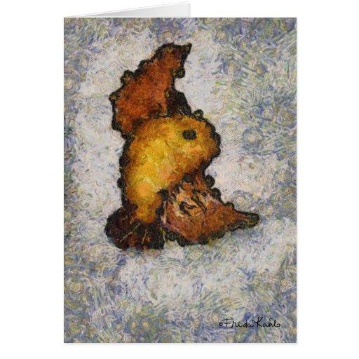 Pintura do pássaro do Monet-Estilo de Frida Kahlo Cartão